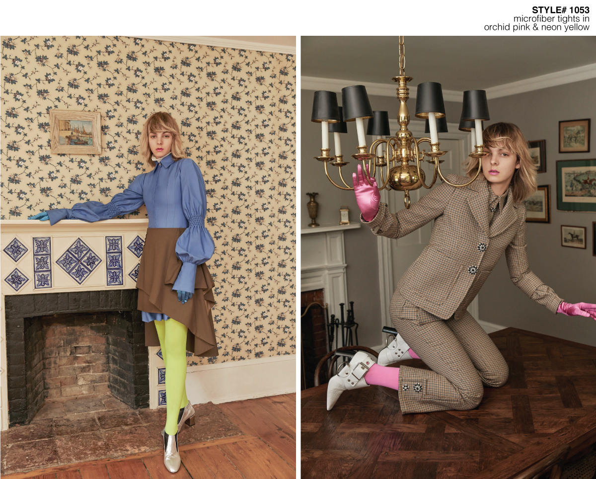 female model standing on a living room next to a chimney (left), same model on her knees on top of a dining room table