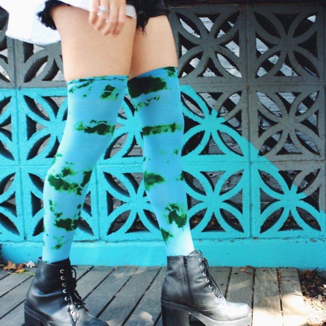 City Splah Color Thigh Highs Blue Mellow Vintage Walking?W=1000