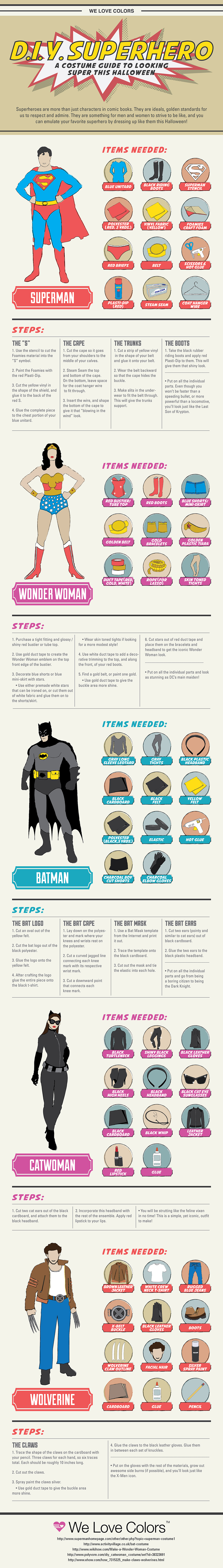D.I.Y. Superhero Costumes Infographic - We Love Colors