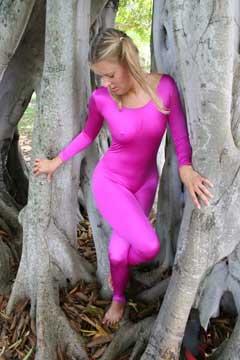 Pink unitard.