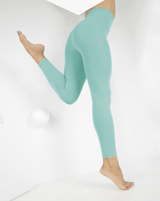 Dusty Green Microfiber Ankle Length Footless Tights Style# 1025   We Love Colors