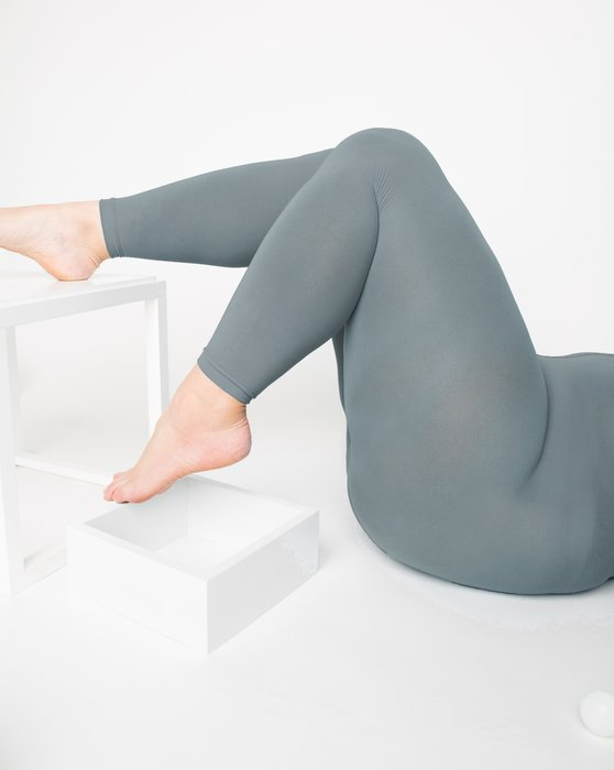 1025 W Grey Footless Microfiber Tights
