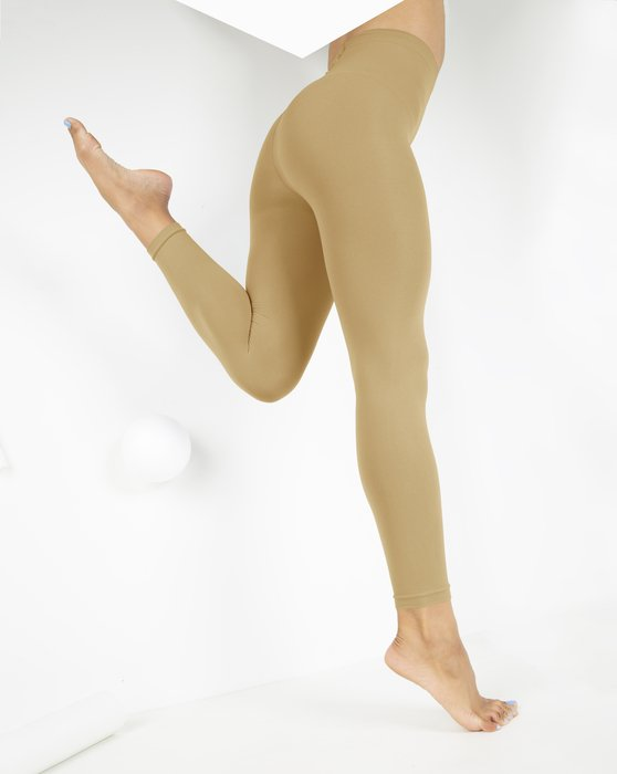 Light Tan Microfiber Ankle Length Footless Tights Style# 1025 | We Love Colors