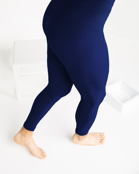 Navy Microfiber Ankle Length Footless Tights Style# 1025   We Love Colors