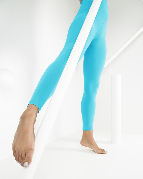 Neon Blue Microfiber Ankle Length Footless Tights Style# 1025 | We Love Colors