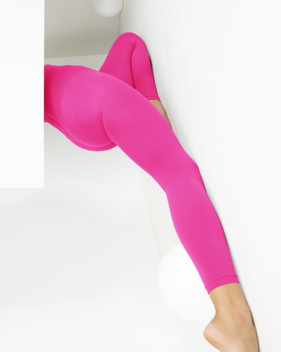 Neon Pink Microfiber Ankle Length Footless Tights Style# 1025 | We Love Colors