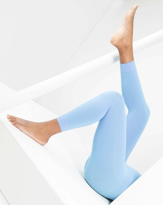 Sky Blue Microfiber Footless Tights Style# 1037 | We Love Colors