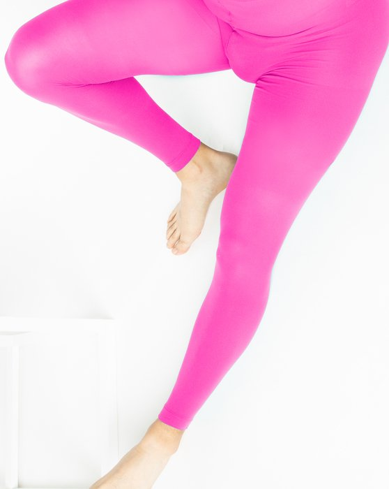 Neon Pink Plus Sized Nylon/Lycra Footless Tights Style# 1041 | We Love Colors
