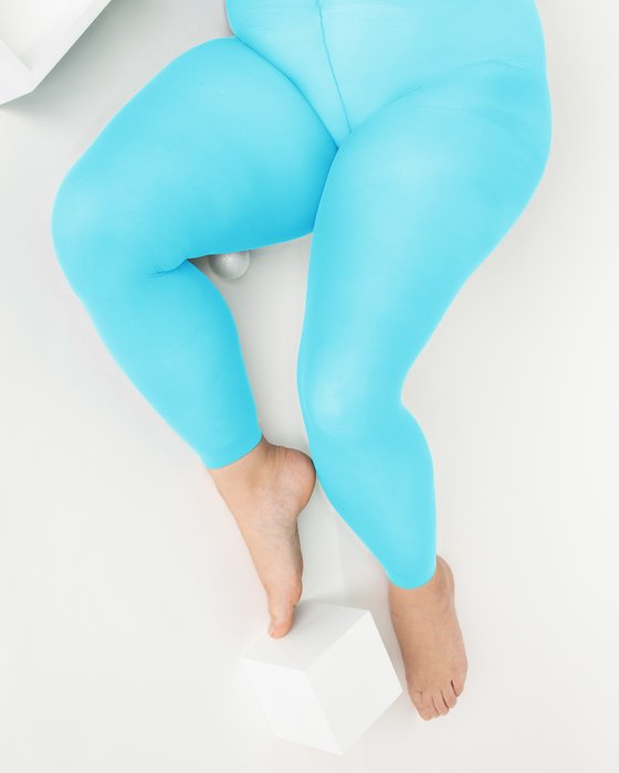 Neon Blue Plus Sized Nylon/Lycra Footless Tights