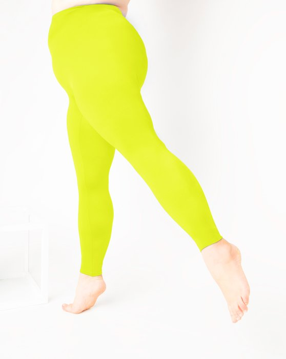 Neon Yellow Footless Performance Tights Leggings Style# 1047   We Love Colors