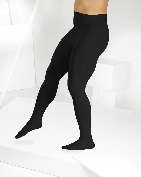 1053 M Black Solid Color Opaque Microfiber Male Tights