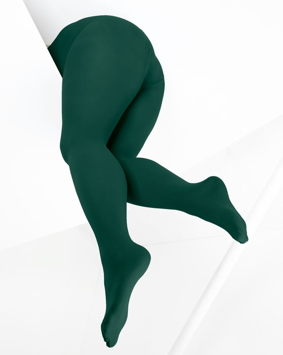 1053 W Hunter Green Color Opaque Womens Microfiber Tights