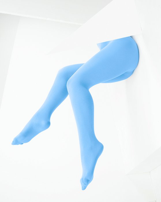 1053 W Sky Blue Color Opaque Womens Microfiber Tights