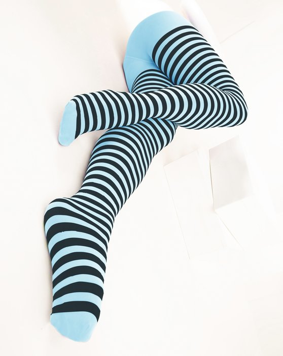 1202 Aqua Black Striped Tights