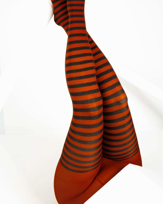 Rust Black Striped Tights Style# 1202 | We Love Colors