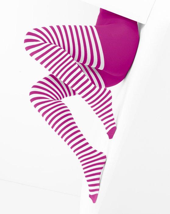 Fuchsia White Striped Tights Style# 1203   We Love Colors