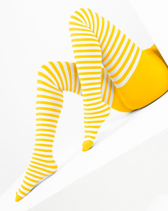 Gold White Striped Tights