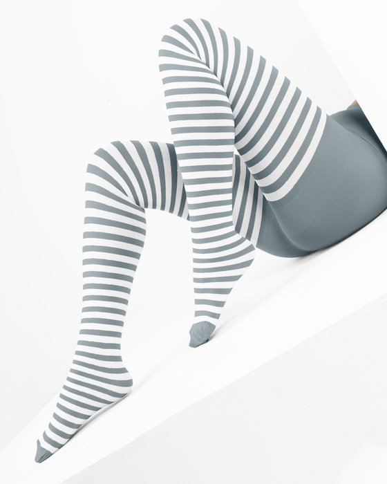 1203 Grey White Stripes Grey Tights