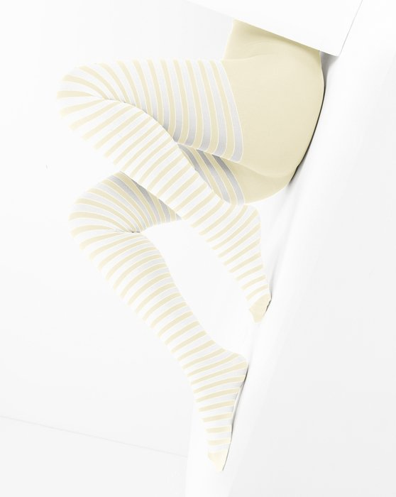 Ivory White Striped Tights Style# 1203   We Love Colors