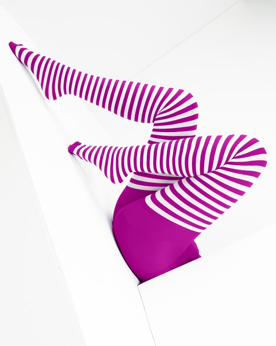 Magenta White Striped Tights Style# 1203 | We Love Colors