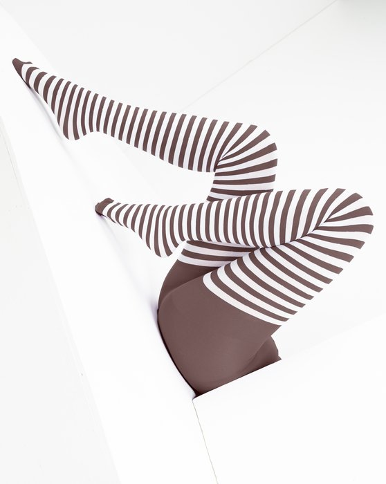 Mocha White Striped Tights Style# 1203 | We Love Colors
