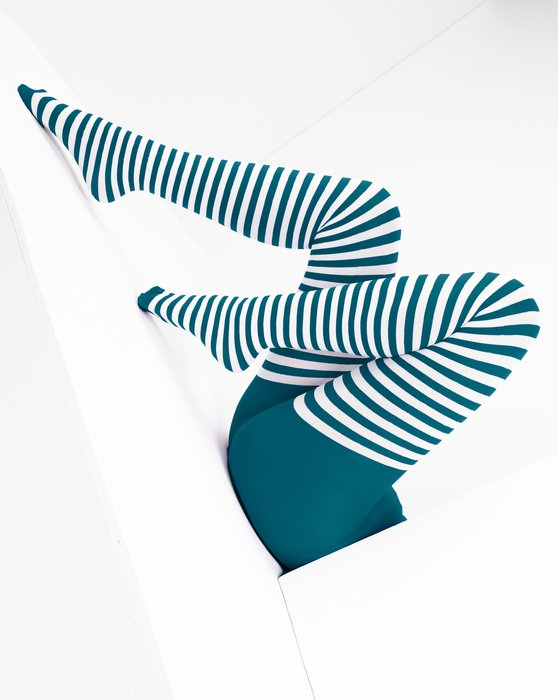 Teal White Striped Tights Style# 1203   We Love Colors