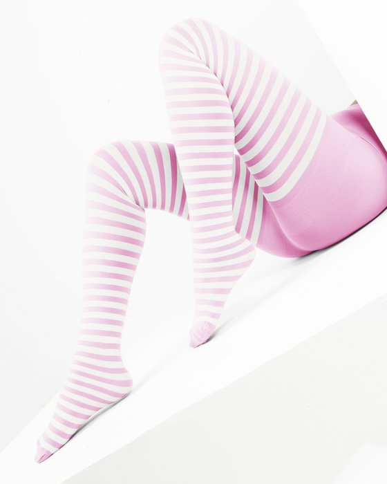 Light Pink White Striped Tights