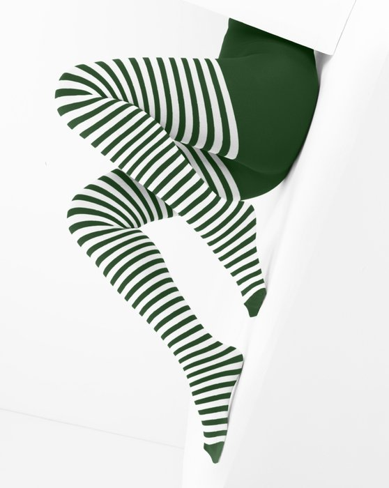 1203 White Stripes Emerald Tights