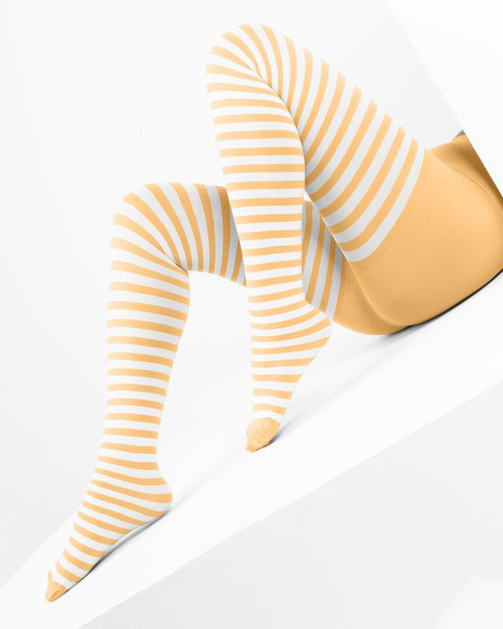 Light Orange White Striped Tights Style# 1203   We Love Colors