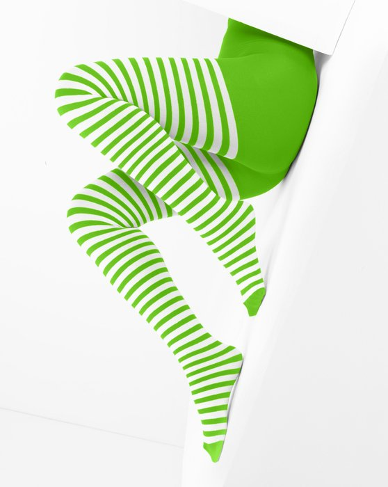 Neon Green White Striped Tights Style# 1203   We Love Colors
