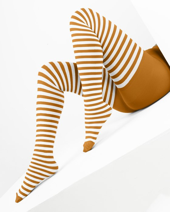 1203 White Stripes Neon Orange Tights