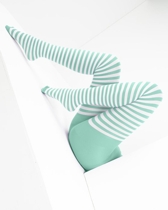 Pastel Mint White Striped Tights Style# 1203   We Love Colors