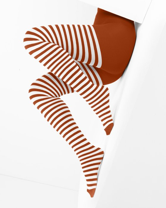 Scarlet Red White Striped Tights