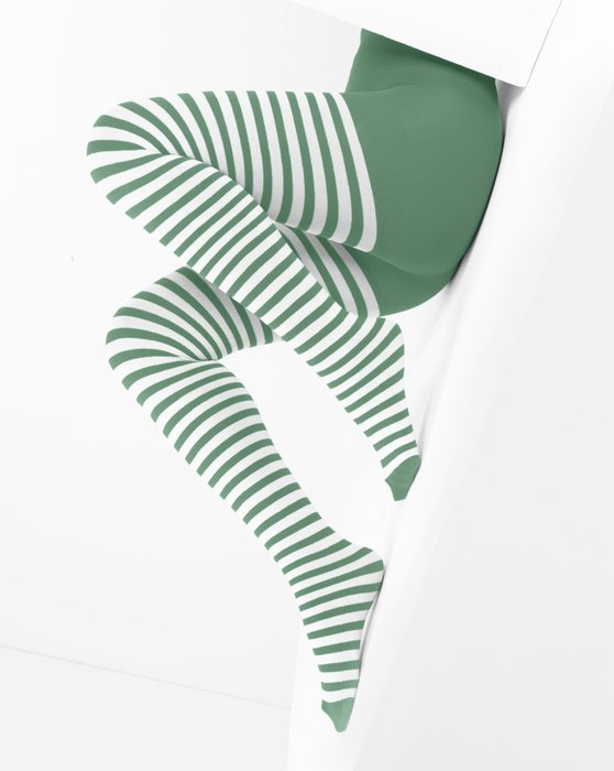 1203 White Stripes Scout Green Tights