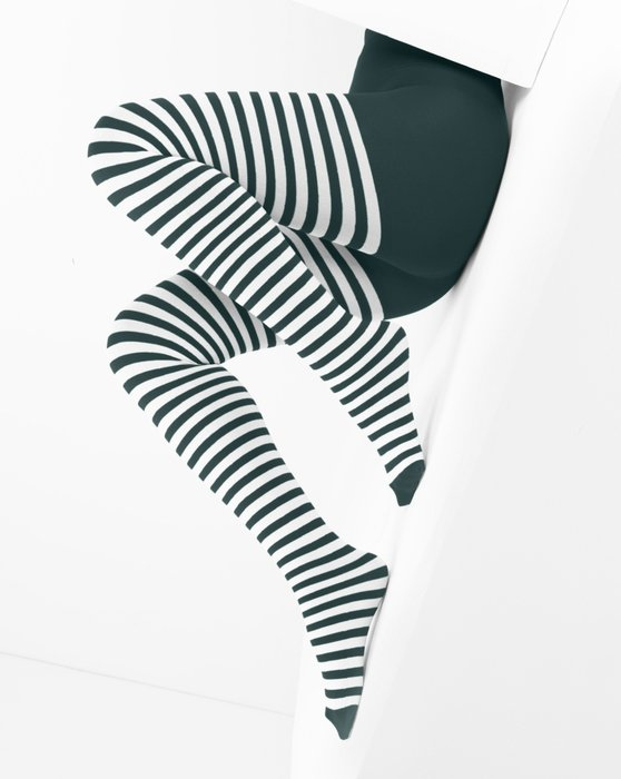 Spruce Green White Striped Tights