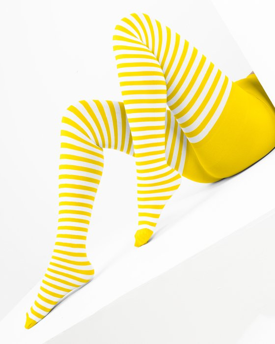 1203 Yellow White Striped Tights