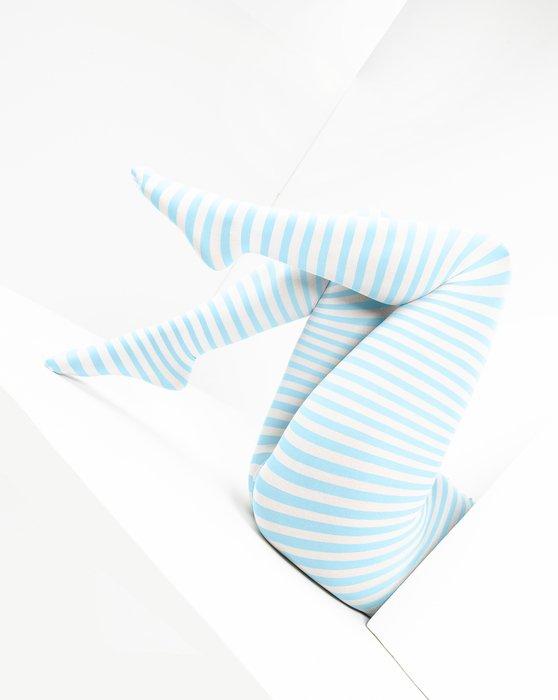 Aqua White Plus Sized Striped Tights Style# 1204 | We Love Colors