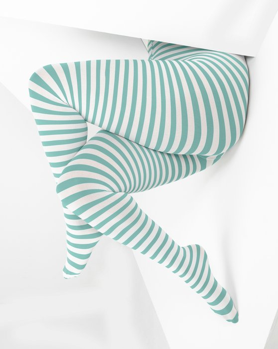 1204 Dusty Green White Stripes Plus Size Tights