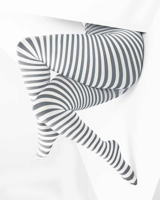 1204 Grey White Plus Sized Striped Tights