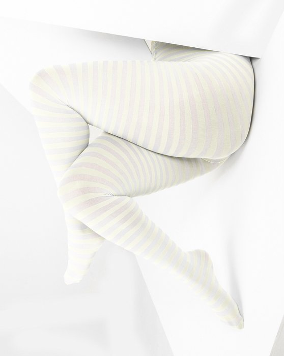 Ivory White Plus Sized Striped Tights Style# 1204 | We Love Colors