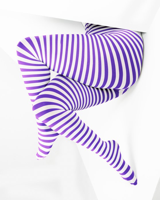 Lavender White Plus Sized Striped Tights Style# 1204 | We Love Colors