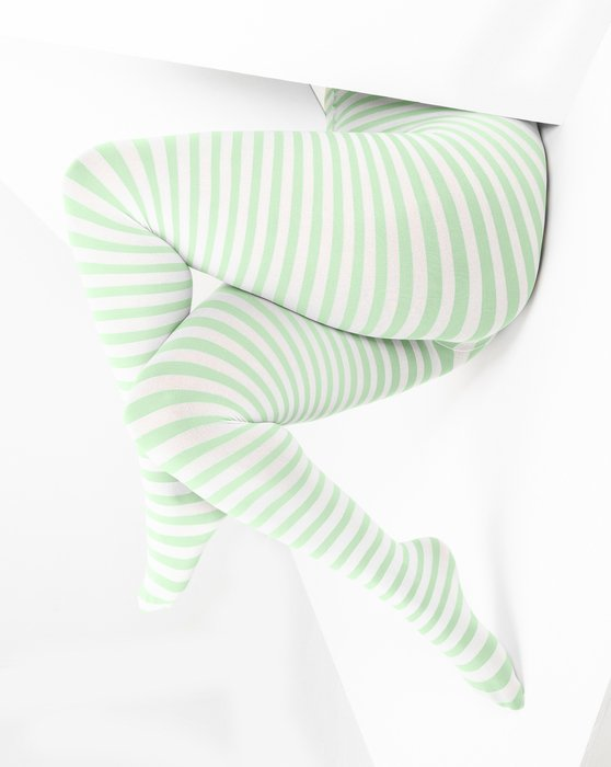 Mint Green White Plus Sized Striped Tights Style# 1204 | We Love Colors
