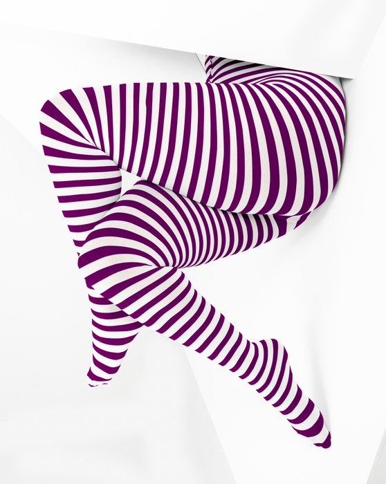 1204 Rubine White Striped Plus Sized Tights