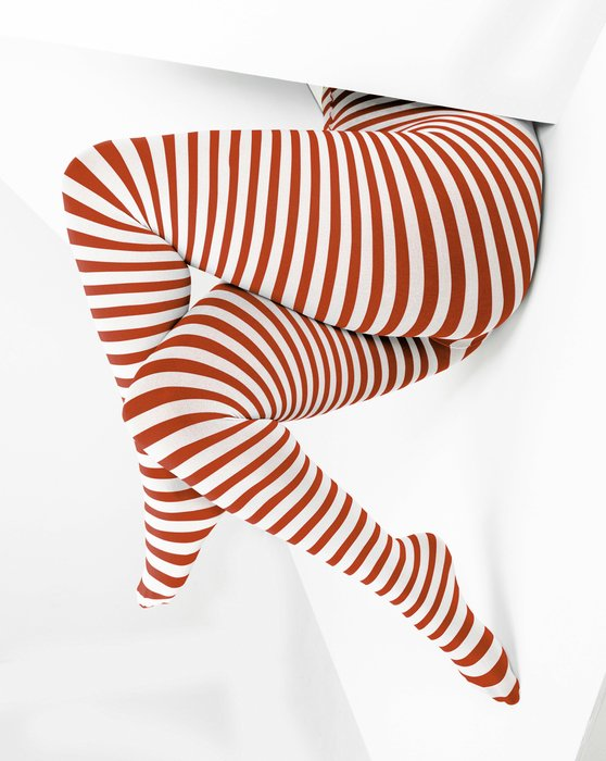 Rust White Plus Sized Striped Tights Style# 1204   We Love Colors