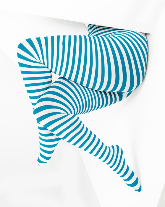 Turquoise White Plus Sized Striped Tights Style# 1204 | We Love Colors