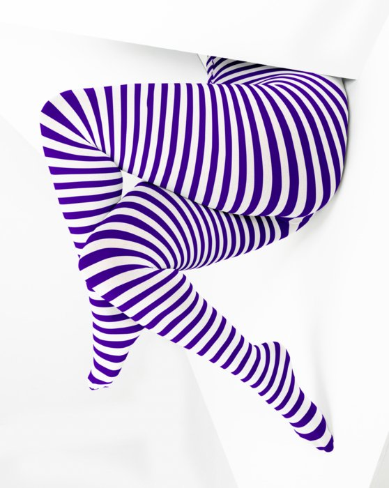 1204 Violet White Striped Plus Sized Tights