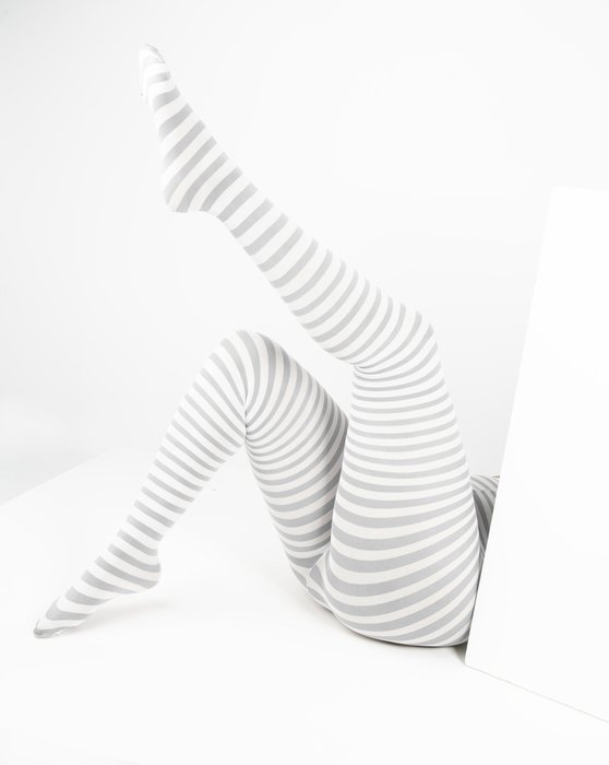 Grey White Plus Sized Striped Tights Style# 1204 | We Love Colors