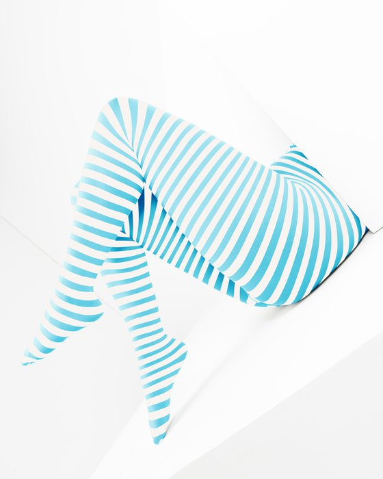 Neon Blue White Plus Sized Striped Tights Style# 1204 | We Love Colors