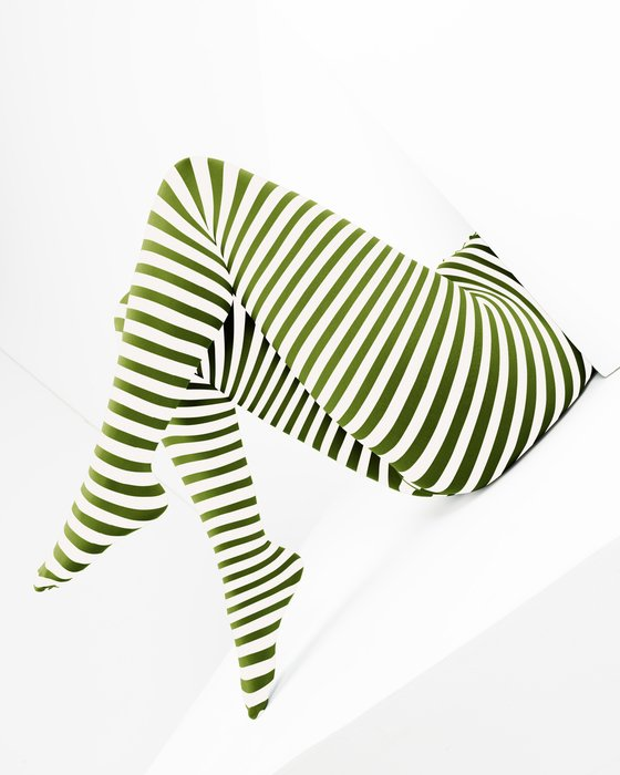 Olive Green White Plus Sized Striped Tights Style# 1204 | We Love Colors