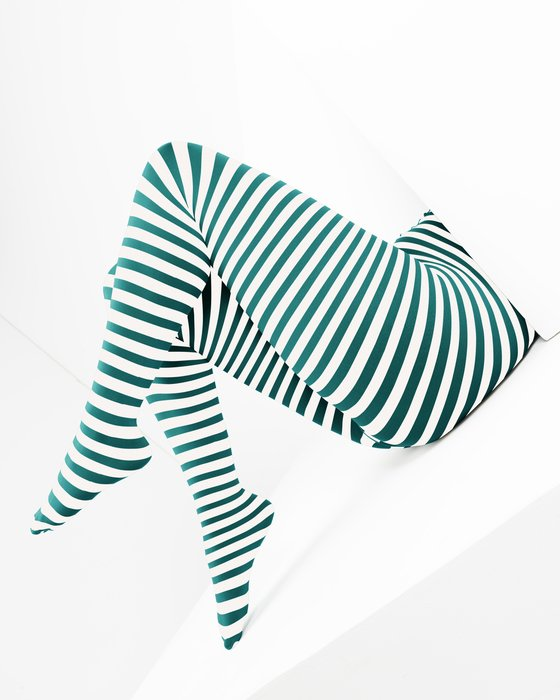 Spruce Green White Plus Sized Striped Tights Style# 1204   We Love Colors